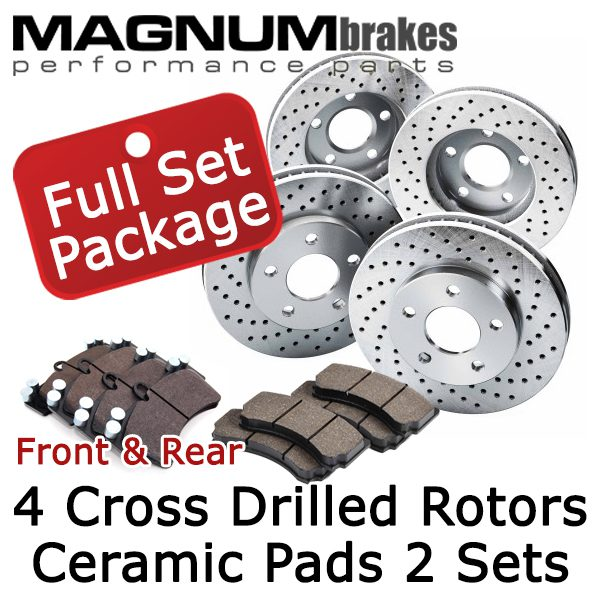 MagnumBrakes Front & Rear Cross Drilled Brake Rotors & Ceramic Brake Pads for 2004 Chevrolet Silverado 1500 Z71 4.8L