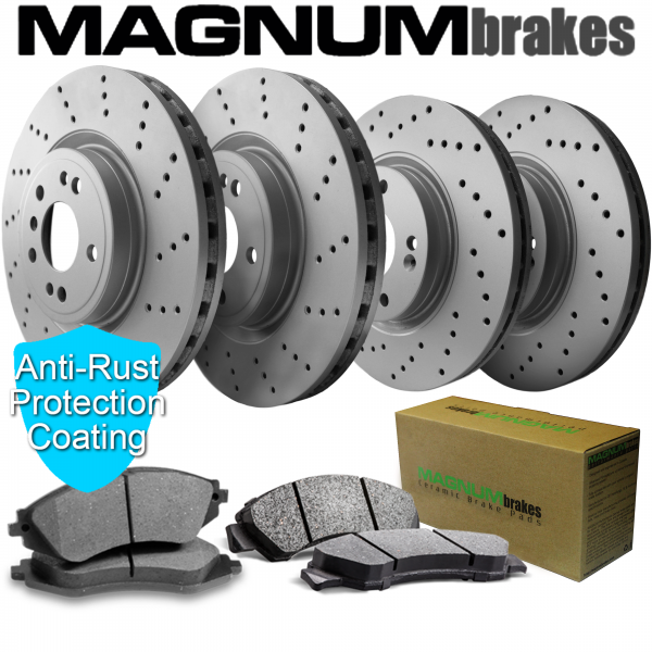MagnumBrakes Front & Rear Cross Drilled Brake Rotors & Ceramic Brake Pads for 2007 BMW 335i Base 3.0L – E90 Sedan